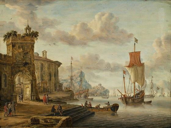 Abraham Storck, Havnescene med antikke ruiner, 1666