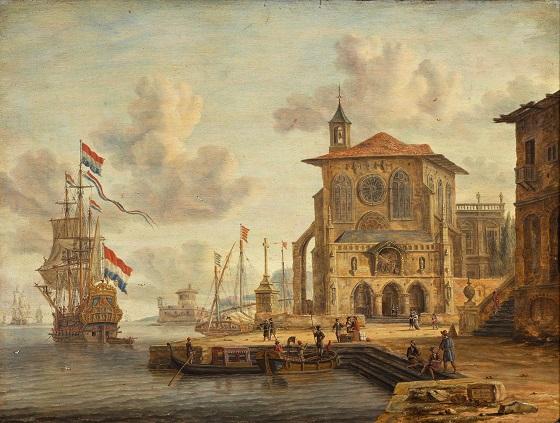 Abraham Storck, Havnescene med middelalderlig bygning, 1674
