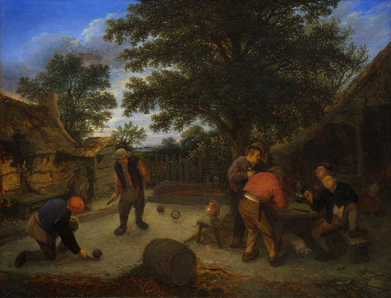 Adriaen van Ostade, Kuglespillere i krohaven, ca. 1660