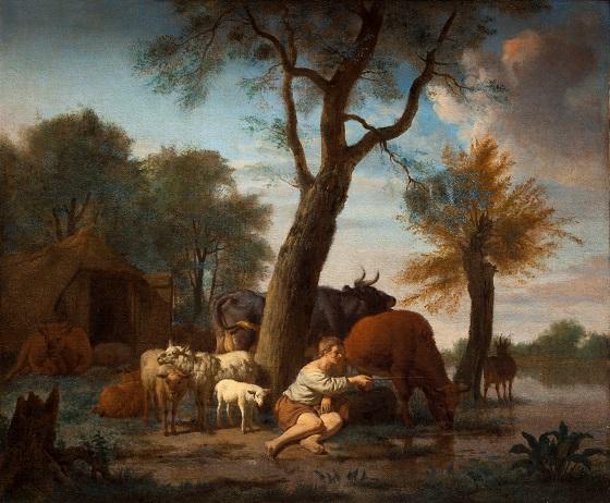 Adriaen van de Velde, Den fiskende hyrde, 1664