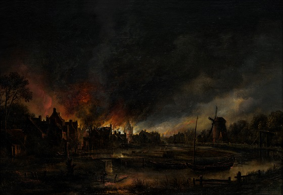 Aert van der Neer, Landsbybrand ved nattetide, 1600-tallet