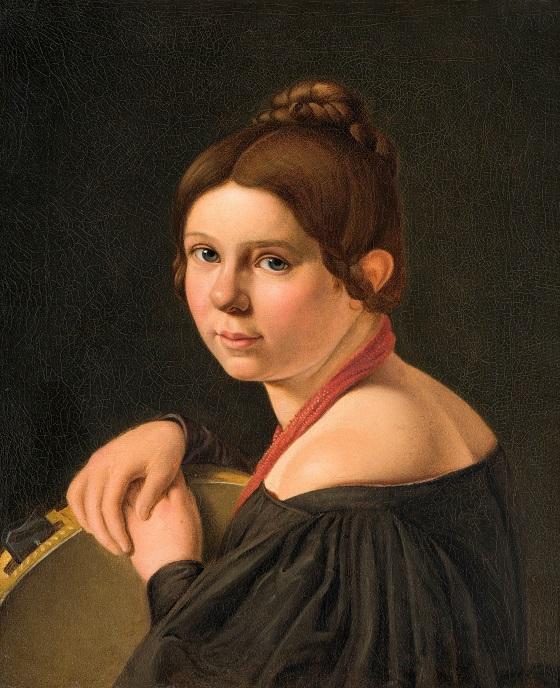 Albert Küchler, Fru Marie Lehmann, f. Puggaard, som italienerinde med tamburin, u.å.