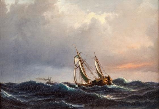 Anton Melbye, Et skib i høj sø ved solnedgang, 1847