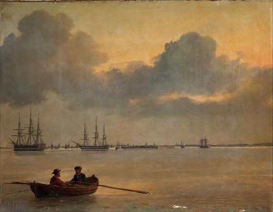 Anton Melbye, Stille aften på Københavns Red, 1847
