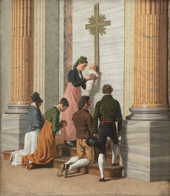 C.W. Eckersberg, Andagt ved den hellige port i Peterskirken, ca. 1814