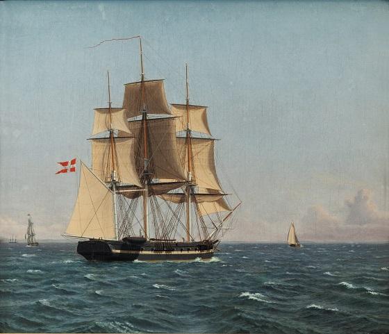 C.W. Eckersberg, Korvetten Najaden i sundet venter fregatten Bellona, ca. 1834