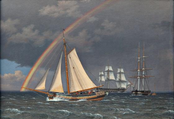 C.W. Eckersberg, Regnbue på søen, en krydsende jagt med nogle andre skibe, 1836