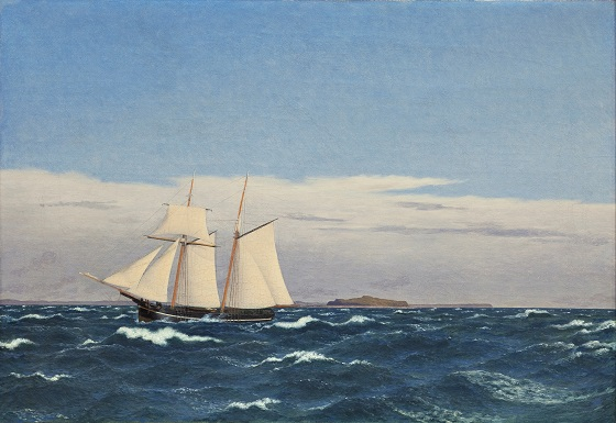 C.W. Eckersberg, Søstykke med øen Hjelm og den jyske kyst, 1827-1845