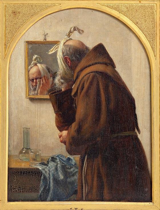 Carl Bloch, En munk, der spejler sig, 1875