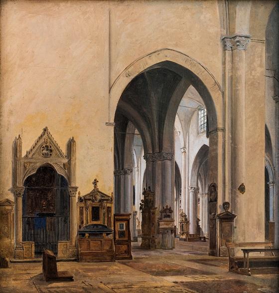 Constantin Hansen, Det indre af kirken S. Maria sopra Minerva i Rom, 1839