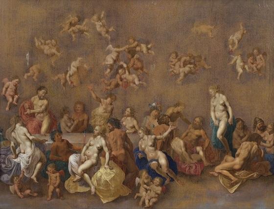 Cornelis van Poelenburgh, Gudernes festmåltid, 1600-tallet
