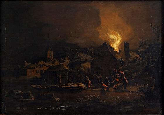 Egbert Lievensz van der Poel, Ildebrand i en hollandsk landsby, ca. 1650