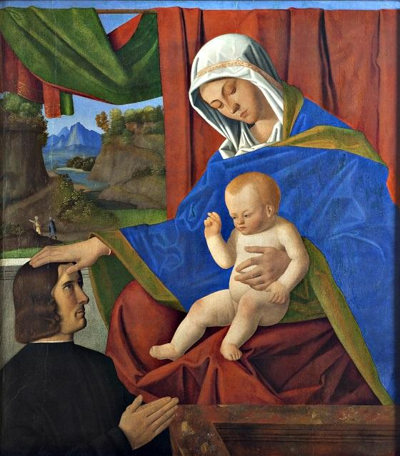 Francesco di Simone da Santacroce, Jomfru Maria med Kristusbarnet og en stifter, u.å.