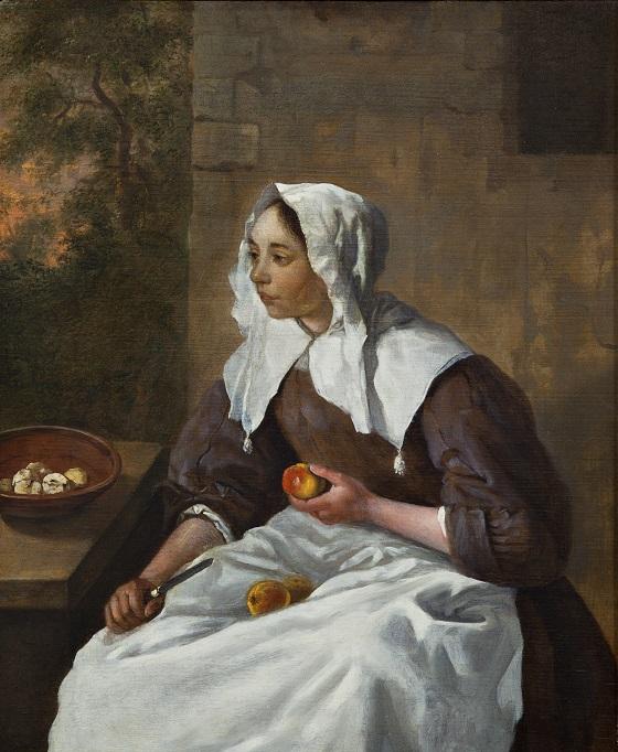 Gabriel Metsu, En pige, der skræller æbler, u.å.