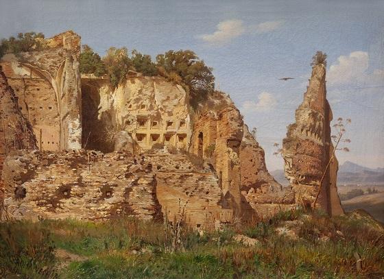 Harald Jerichau, Landskabsparti fra Rom, Villa dei Quintilli ved Via Appia, 1870