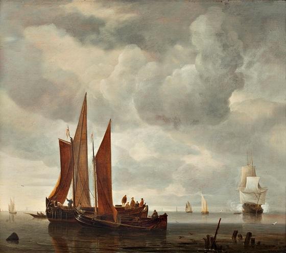 Hendrick Jacobz Dubbels, Skibe udenfor Dordrecht, u.å.