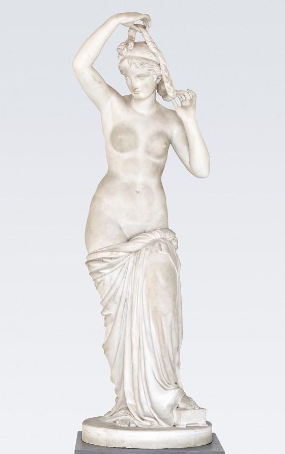 Herman Wilhelm Bissen, Venus binder sit hår, ca. 1842