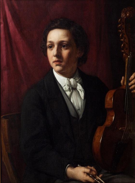Holger Roed, En ung musiker med sin viola, ca. 1869
