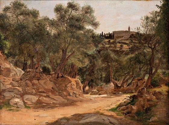 Jørgen Roed, Olivenlund fra Tivoli ved Rom, 1839