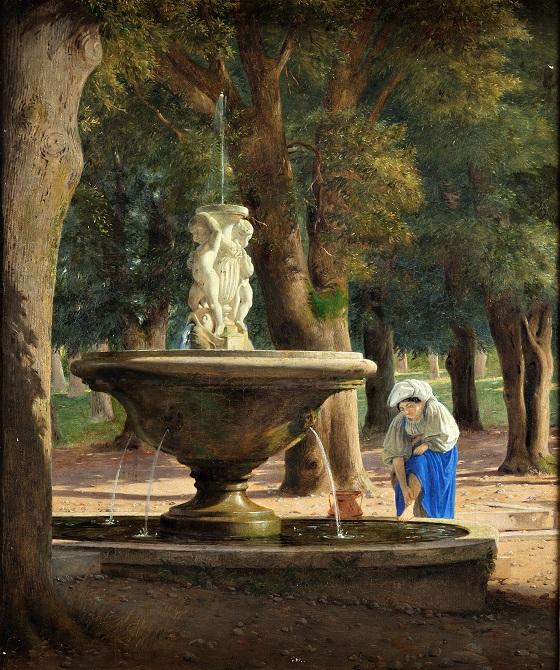 Jørgen Roed, Scene fra Villa Borgheses have i Rom, ca. 1839