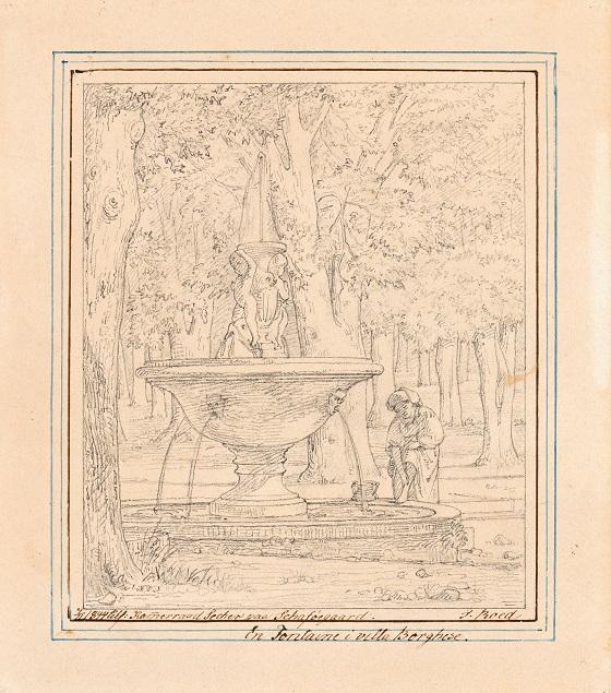 Jørgen Roed, Tegnet forstudie til Scene fra Villa Borgheses have i Rom, u.å.