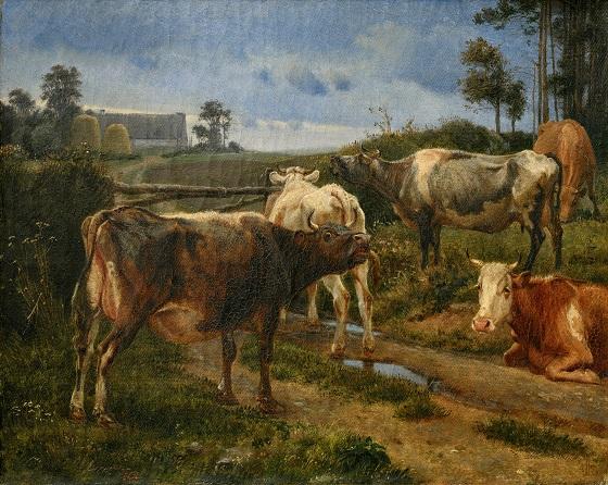 J. Th. Lundbye, Brølende køer ved et stænge, 1847