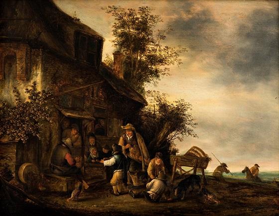 Jan van Hens, Spillemænd udenfor værtshuset, 1600-tallet