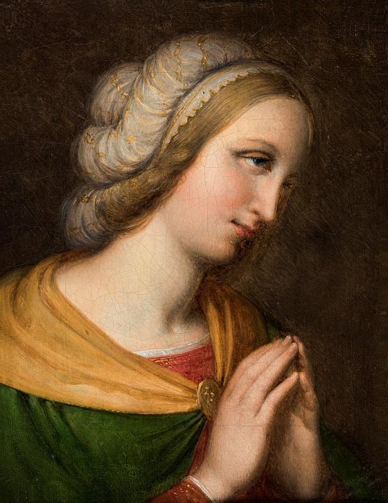 Johan Ludvig Lund, Brystbillede af bedende kvinde. Kopi efter maleri af Perugino, u.å.