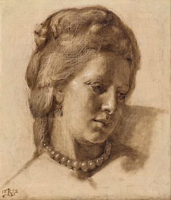 Kristian Zahrtmann, Dronning Caroline Mathilde (Studie til det i 1873 udstillede maleri Scene fra Christian VII's hof), 1872