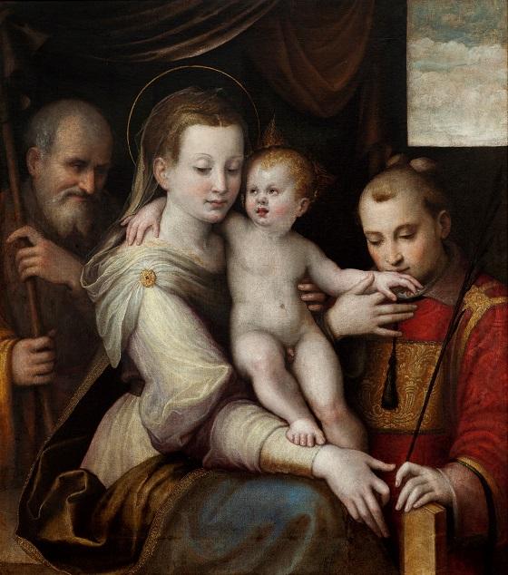 Luca Longhi, Den hellige familie med Skt. Stefanus, ca. 1560