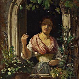 Marstrand, Wilhelm - Italienerinde, der hilser fra et vindue, u.å. 0114NMK