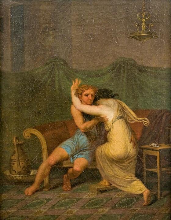 Nicolai Abildgaard, Catullus og Lesbia, der i hans arme søger trøst for hendes spurvs død, 1809