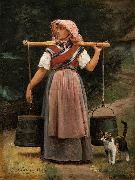 Otto Bache, En malkepige, 1876