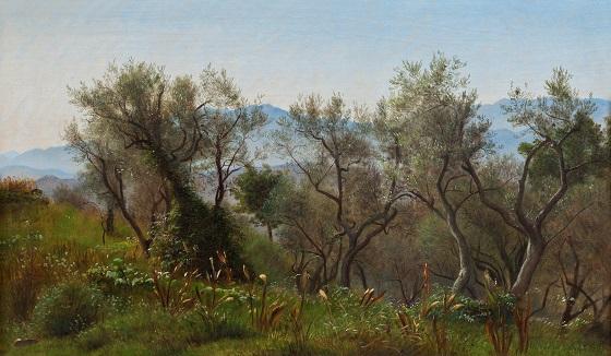 P.C. Skovgaard, Oliventræer ved Olevano med bjerge baggrunden, 1869