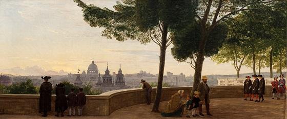 P.C. Skovgaard, Udsigt fra Monte Pincio i Rom, 1861