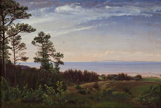 P.C. Skovgaard, Udsigt fra Sjællands nordkyst over Kattegat med Kullen i baggrunden, ca. 1832