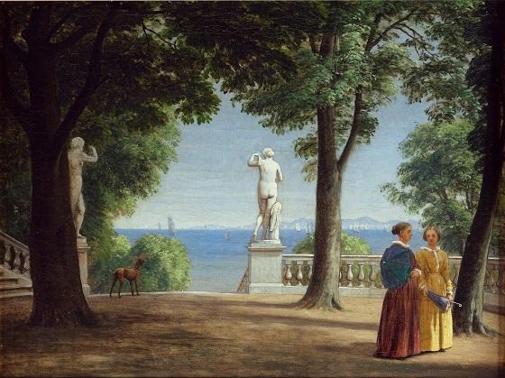 P.C. Skovgaard, Udsigt over søen mod Kullen fra en haveterrasse med statuer (Marienlyst), u.å.