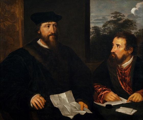 Ubekendt  kunstner, Dobbeltportræt af Georges d'Armagnac, biskop af Rodez, fransk ambassadør i Venezia, og sekretæren Guillaume Philandrier, KOPI efter Titian Vecellio, efter 1540