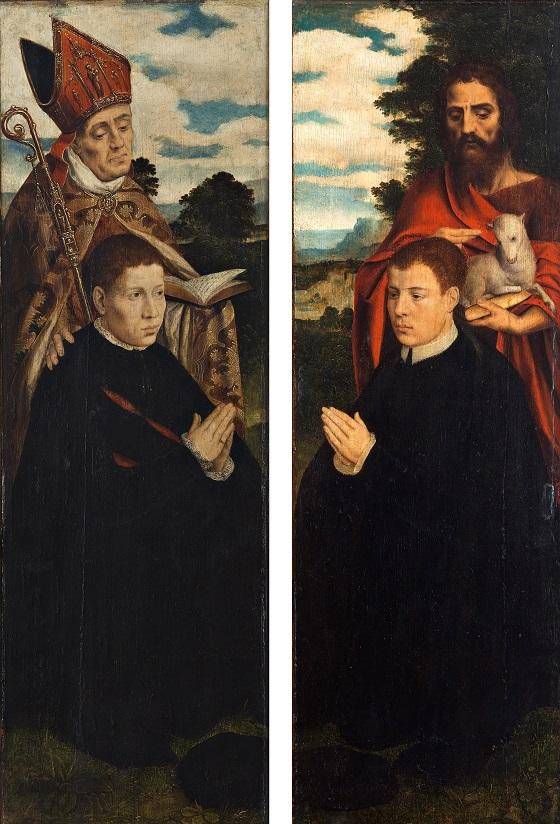 Ubekendt kunstner, To alterfløje med portrætter af alterets stiftere med deres navnehelgener, 1500-50. BEGGE