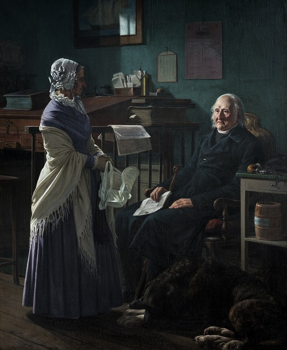 Wilhelm Marstrand, Dobbeltportræt af købmand Christopher Friedenreich Hage (1759-1849) og hans hustru, Arnette, f. Just (1778-1866) Må jeg låne de to brune heste, 1849-1852