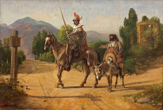 Wilhelm Marstrand, Don Quixote og Sancho Panza ved en skillevej, u.å. (efter 1847)