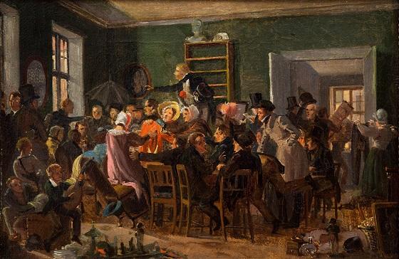 Wilhelm Marstrand, En auktionsscene, 1835