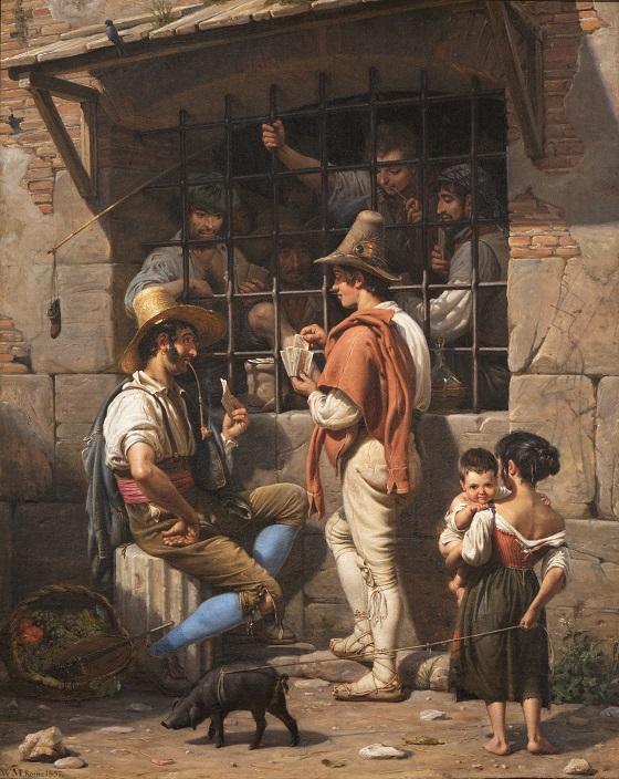 Wilhelm Marstrand, En fængselsscene i Rom, 1837