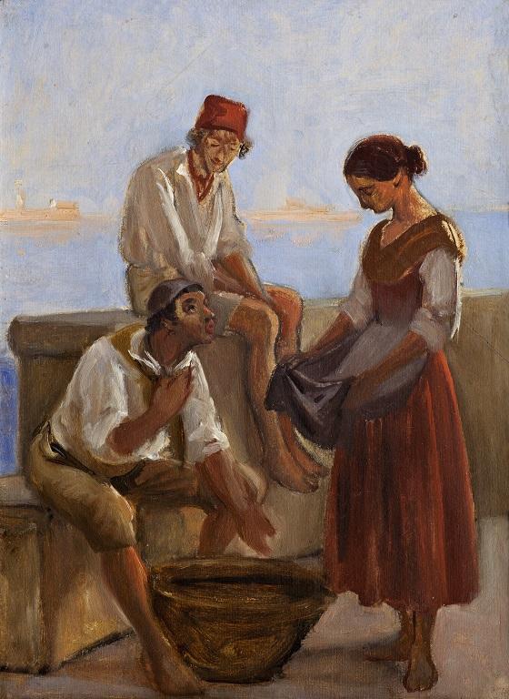 Wilhelm Marstrand, En ung pige og to fiskere, ca. 1853