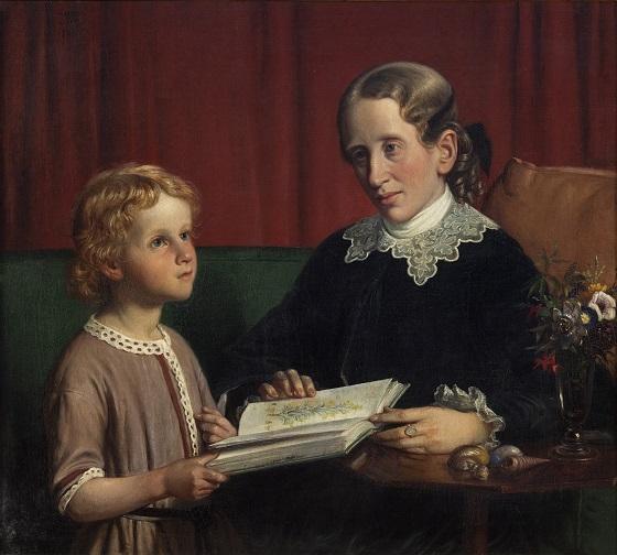 Wilhelm Marstrand, Frk. Annette Hage viser sin brodersøn Hother Hage en bog med planteafbildninger, 1856