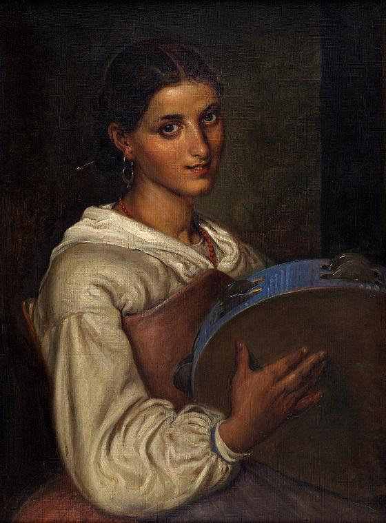 Wilhelm Marstrand, Italienerinde med blå tamburin, u.å.