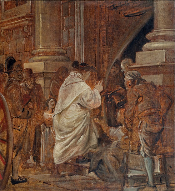 Wilhelm Marstrand, Kardinalen i kirkedøren velsigner tiggere, u.å.