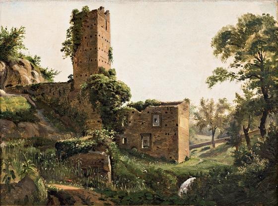 Wilhelm Marstrand, Landskab med ruiner, ca. 1838