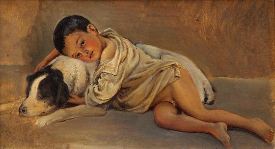 Wilhelm Marstrand, Napolitansk dreng og hund. Studie til Scene af det napolitanske folkeliv, ca. 1839