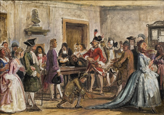 Wilhelm Marstrand, Philemon og hans anklagere. Scene fra L. Holbergs Det lykkelige skibbrud, 5. akt, 9. scene (Skitse til maleri med samme motiv, 1859), ca. 1859
